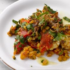 Char-grilled squid with chana dal and preserved lemon