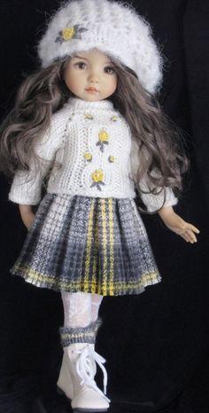 Mohair Handknit Coat and skirt set made for Effner little darling dolls.