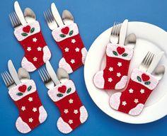 Fun christmas silverware holders in the shape of Christmas stockings