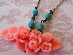 Summer Bouquet of Coral Pink with Turquoise by JaniceRDesigns