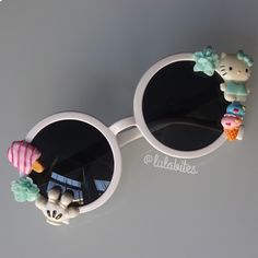 Round Deco Sunglasses New adorable one of a kind sunglasses. Hand decorated on plastic round sunglasses. No holds or trades. Last picture serves as inspiration. Hello Kitty Accessories Sunglasses