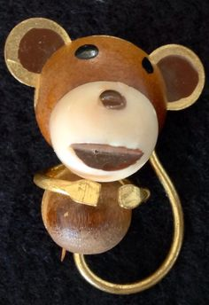 Monkey Wood Gold Tone Brooch Pin Vintage Marked West Germany