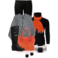 A fashion look from December 2014 featuring black cape, black jeans and tall boots. Browse and shop related looks.
