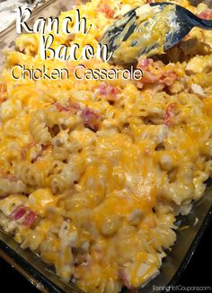 Ranch Bacon Chicken Casserole: Make this for dinner tonight!!  This recipe is absolutely perfect for my whole family. It's one of my favorite things to make and is full of flavor (there's GARLIC in it!) but no weird chunks of anything (that's what the kiddos dislike). Raining Hot Coupons