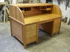 Handmade Cherry Rolltop Desk by Heirloom Custom Woodworks | CustomMade.com - Front