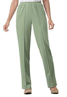 38636ec4efe Only Necessities Women s Plus Size Pants in Wrinkle   Stain-Resistant Knit