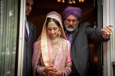 Vintage Sikh bride in pink lehnga and pearl jewelry | Beauty by Amplified Soul http://www.amplifiedsoul.ca/ | Photography by Kumari Photo | Cinema http://kumariphotoanddesign.com/