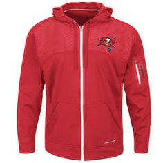 Men's Tampa Bay Buccaneers Majestic Red Ready For Action Therma Base® Full-Zip Hoodie