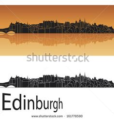 Edinburgh skyline in orange background - stock photo