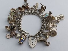 Custom Silver Charm Bracelet. Vintage. Choose 20 Charms, Assembled with Opening Charms, Gem Set, Crystal Charms by LittleVintageCharmCo on Etsy