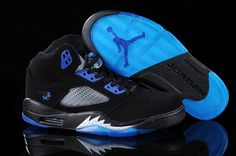 Air Jordan 5 V Retro Shoes Black Blue