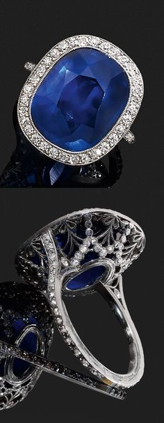 A MAGNIFICENT BELLE EPOQUE PLATINUM, BURMESE SAPPHIRE AND DIAMOND RING, CIRCA 1900. #BelleÉpoque