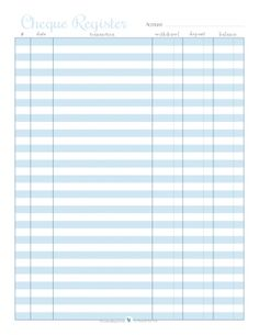 free printable cheque register in blue | ScatteredSquirrel.com