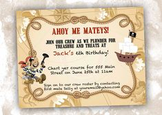 Pirate party invitation treasure map invitation template pinterest pirate invitations google search stopboris Image collections