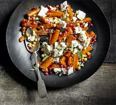 Intriguing - Roasted carrots with goat's cheese & pomegranate.  190 kcalories, protein 8g, carbohydrate 20g, fat 10 g, saturated fat 4g, fibre 5g, sugar 11g, salt 0.5 g