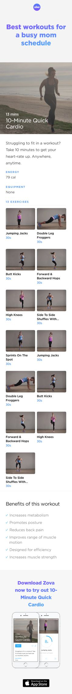 If you've only got 10 minutes to yourself, do your body a favour and spend it building up your muscle strength. This short 10-minute workout is great for new moms trying to regain their core strength or wanting to lose extra post-natal weight. And, it can be done anywhere, any time! #weightloss #workout #fitness #HIIT #fullbody #sweat #bodyweight #calories #mom #athome