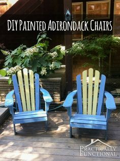 Paint your Adirondack chairs to add a fun pop of color to your porch or patio!