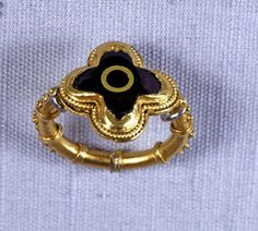The Dover Saxon Ring, c.550AD. A magnificent and important Anglo Saxon Gold ring. Found in a Saxon rubbish layer near Market Street in 1972 by the CIB Archaeological Rescue Corps, during excavations for the York Street dual carriageway. The ring has a garnet stone set in a gold quatrefoil bezel and is decorated with gold wire and granulated gold. It is one of the best Saxon rings ever found in England and probably belonged to a senior member of the court of the Anglo-Saxon kingdom of Kent.