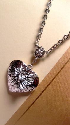 Items similar to Heart Locket - Locket Necklace - Owl Necklace - Heart Necklace - Love Necklace - Christmas Gift on Etsy Heart Locket Necklace, Owl Necklace, Locket Charms, Necklace Chain, Necklaces, Owl Jewelry, Heart Jewelry, Friendship Symbols, Owl Charms