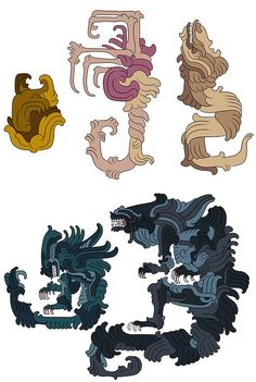 A Xenomorph's life cycle in a Mayan style.
