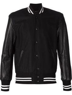 #Mens Sleeves Leather #Bomber Jacket #apparel #outfits #menswear #fashion