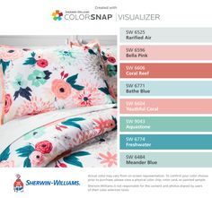 I found these colors with ColorSnap® Visualizer for iPhone by Sherwin-Williams: Rarified Air (SW 6525), Bella Pink (SW 6596), Coral Reef (SW 6606), Bathe Blue (SW 6771), Youthful Coral (SW 6604), Aquastone (SW 9043), Freshwater (SW 6774), Meander Blue (SW 6484).