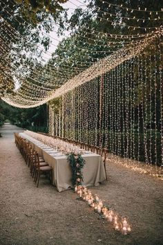 How stunning is this country chic wedding look. Combine rustic fairylights with a trail of candles that lead down your wedding tables for the ultimate wedding decoration idea. Visit Hitched for more wedding decor looks and ideas Wedding Looks, Chic Wedding, Fall Wedding, Wedding Events, Wedding Styles, Dream Wedding, Wedding Rustic, Rustic Weddings, Country Weddings