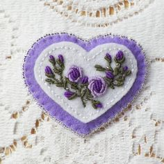 Handmade Lavender / Purple Heart Shaped Brooch with Purple Embroidered Roses and Sparkling Glass Beads Brooch / Pin / Broach Victorian