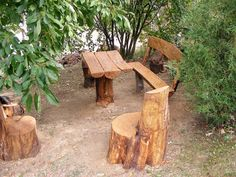 Garden benches and table made from a  felled tree