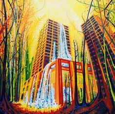 "Spring To Life (Cincinnati + Costa Rica + Yosemite National Park) March 2014, 45"" x 45"" Elaine Fleck Gallery — SOLD"