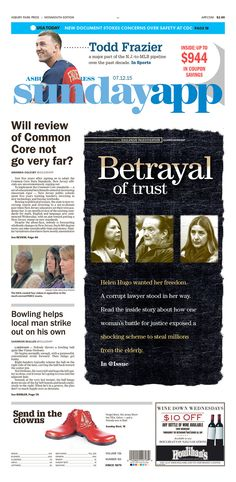 Betrayal of trust, Asbury Park Press Newspaper Layout, Newspaper Design, News Design, Design Ideas, Front Page Design, Asbury Park, Editorial News, Lets Celebrate, Usa Today