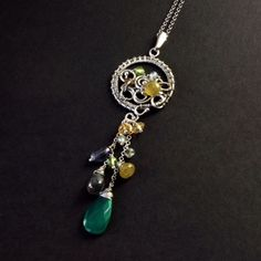 Spring Exclusive beautiful necklace with minerals  wire by Ewasko