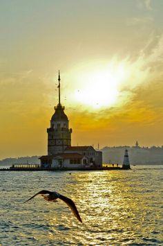 #istanbul #kız #kule #kızkulesi #martı #deniz #boğaz #manzara #günbatımı #güneş Istanbul City, Istanbul Turkey, Bosphorus Bridge, Sun City, Turkey Travel, Sea And Ocean, Vacation Trips, Cool Photos, Sunrise