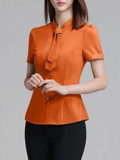 Fashionmia - Fashionmia Necktie Plain Chiffon Blouse - AdoreWe.com
