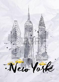 Aquarelle gratte ciel de New York Empire State Building Chrysler Building dans le dessin de style vi Banque d'images