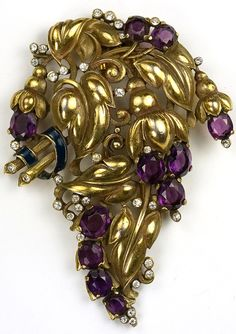Trifari 'Alfred Philippe' Gold Amethyst and Blue Enamel Bellflowers and Leaves Floral Spray Pin Clip