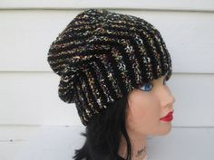 Ready to ship  Very unique - one of a kind hat Slouch beanie Great accessory for any time of the year, Warm and elegant  Fits a full size adult