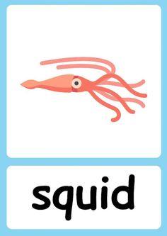 Ingles Kids, Animal Activities For Kids, Flashcards For Kids, Kids English, Pixar Movies, Sea Theme, Ocean Themes, Teaching Materials, Zoo Animals