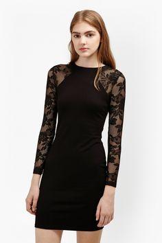 "<ul> <li> Stretch-jersey long-sleeve lace dress with halter neck</li> <li> Contrast sleeve inserts in semi-sheer floral lace inserts</li> <li> Long sleeves</li> <li> Exposed silver-tone metal zip fastening at back</li> <li> Bodycon fit in above-knee length</li> <li> UK size 10 length from high shoulder neck point is 86cm</li> </ul>  <strong>Our model is 5ft 10"" and is wearing a UK size 10. </strong>"
