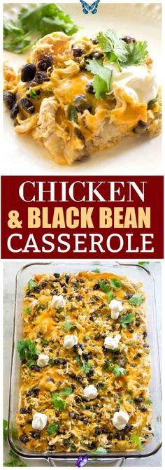 Chicken and Black Bean Enchilada Casserole-The Girl Who Ate Everything This Chicken and Black Bean Enchilada Casserole has layers of corn tortillas, black beans, enchilada sauce, cheese, and sour cream. This is a great Mexican dinner! #mexican #dinner #casserole #chicken #black #bean<br> This Chicken and Black Bean Enchilada Casserole has layers of corn tortillas, black beans, enchilada sauce, cheese, and sour cream. This is a great Mexican dinner! Enchilada Casserole, Enchilada Sauce, Casserole Recipes, Mexican Casserole, Mexican Chicken Casserole, Bean Casserole, Mexican Food Recipes, Beef Recipes, Chicken Recipes