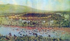 This is a drawing of the Battle of Blood River. It occurred on Dec. 1838 and it was between the indigenous Africans and the Boers. It got its name because there were so many Africans that were slaughtered, that the river nearby turned red. African History, African Art, Good Old Times, Zulu, The Covenant, Trek, South Africa, Battle, Blood