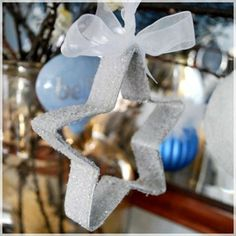 Cookie Cutter Star glittered for Christmas ornament