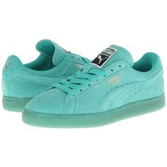 PUMA Suede Classic Wn's Women's Shoes ($55) ❤ liked on Polyvore featuring shoes, pool green, sneakers & athletic shoes, 80s fashion, 80s shoes, suede shoes, 1980s shoes and cushioned shoes