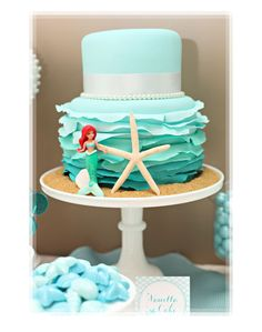 Turquoise Ombre Ruffled Little Mermaid Cake