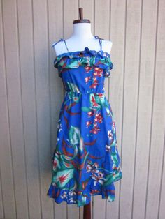 vintage vibrant blue royal hawaiian tropical dress. $25.00, via Etsy.
