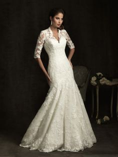 Category:Clothing  Accessories  Clothing  Bridal Clothing  Bridal Dresses  Description:Lovely in lace. A slim, A-line gown featuring lace applique throughout. The bodice features a v-shaped neckline, 3/4 length sleeves with sheer lace details that continue to the fully covered back.  Gender: Female  Age Group: Adult  Silhouette: A-Line Mermaid Gown  Neckline: Sweetheart Neckline  Waist : Natural $238.00