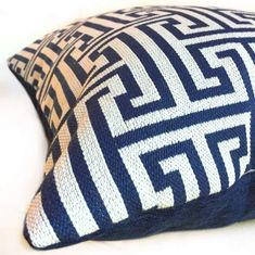 Designers may come and go, but the Greek key pillow isn't going anywhere. This timeless geometric pattern, coupled with the versatile dark blue and off-white color palette, makes our Augustus pillow cover a worthy addition to your home. Mix it with animal prints, florals, you name it!  This high end upholstery fabric h Greek Blue, Greek Key, Blue And White Pillows, Navy And White, Upholstery Fabric For Chairs, Living Room Pillows, Geometric Pillow, Pantone Color, Fabric Patterns