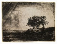 Rembrandt, Landscape with Three Trees, Etching with drypoint and engraving; 8 3/8 x 11 1/8 in., 1643