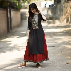 RustOrange Red & Black Cotton Solid Straight Kurti