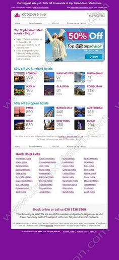 Company:   Octopus Travel   Subject:   January sale starts today - 50% off thousands of hotels             INBOXVISION is a global database and email gallery of 1.5 million B2C and B2B promotional emails and newsletter templates, providing email design ideas and email marketing intelligence http://www.inboxvision.com/blog